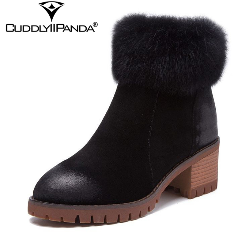 CuddlyIIPanda 2018 Winter British Style Martin Boots Warm Women Winter Boots High Quality Snow Boots Rear Zipper Ankle Boots martin new winter with thick british style short canister female fall side zipper boots