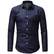 Brand 2018 Fashion Male Shirt Long-Sleeves Tops Classic Geometric Graphic Printing Mens Dress Shirts Slim Men Shirt