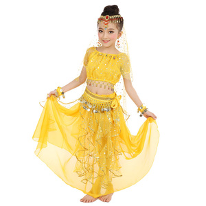 Image 5 - 2020 חדש סגנון ילדים בטן ריקוד תלבושות מזרחי תלבושות ריקוד בטן ריקוד רקדנית בגדי הודי ריקוד תלבושות 5 Pcs עבור ילדים