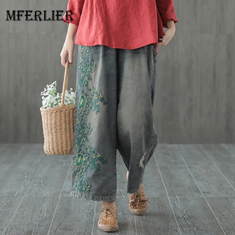 Mferlier   Jeans   Woman Elastic Waist Pockets Flower Embroidery Distressed Mori Girl Casual Vintage Wide Leg Pants