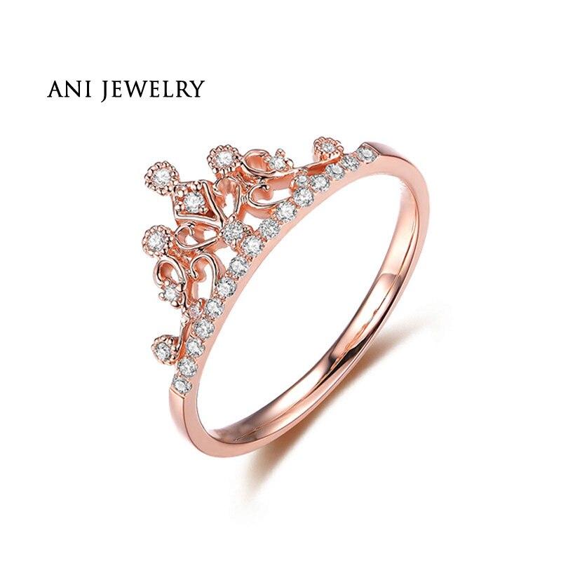 ANI 18K White Gold (AU750) Wedding Rings Natural Certified I-J/SI 0.13 CT Round Cut Diamond Crown Shape Princess Ring for WomenANI 18K White Gold (AU750) Wedding Rings Natural Certified I-J/SI 0.13 CT Round Cut Diamond Crown Shape Princess Ring for Women
