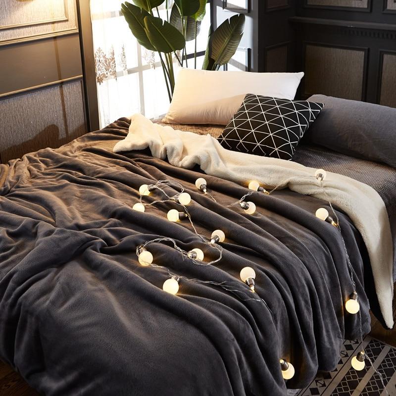 flannel duvet cover blankets for beds sofa plaid winter blanket ...