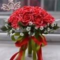 Романтический шелковая лента 24 шт. роуз искусственный люкс цветы свадебный букет корея стиль невесты свадебные букеты