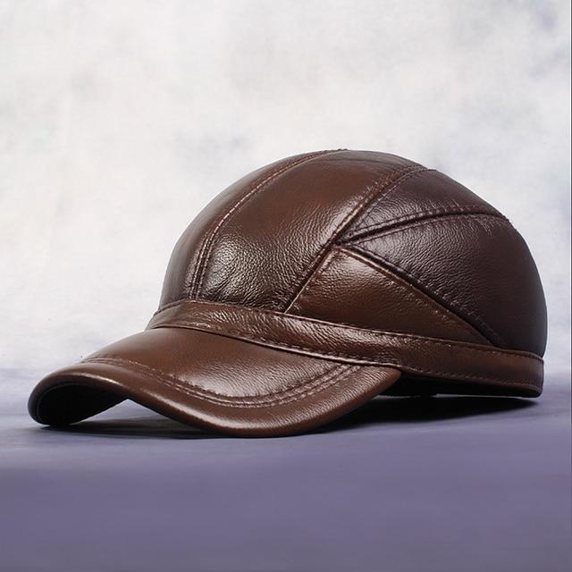 Gorras de Béisbol Ocasional del hombre de Cuero Genuino Caliente de Color  Café Invierno Sombrero Del ca762e64984