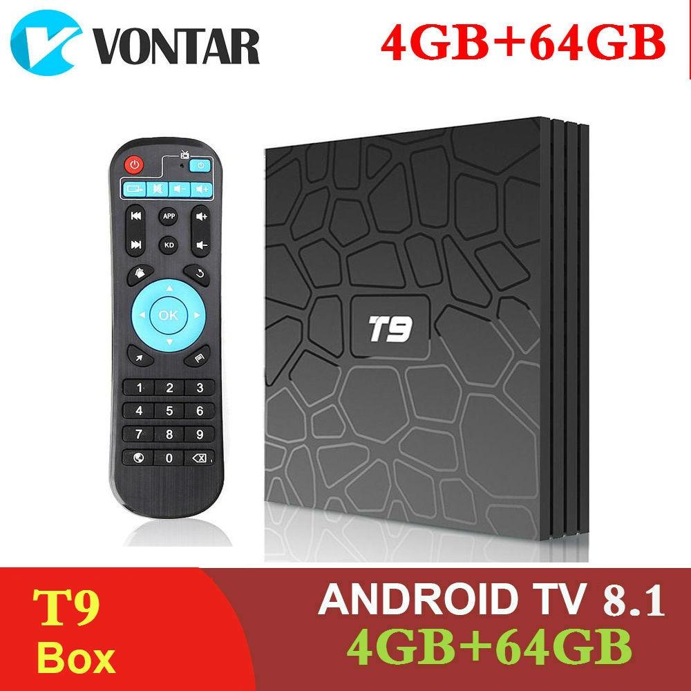 2019 4 GB di RAM 64 GB di Smart TV Box Android 8.1 T9 RK3328 QuadCore 32G USB3.0 4 K Set top TVBox 2.4G/5G Dual WIFI Media Player T9
