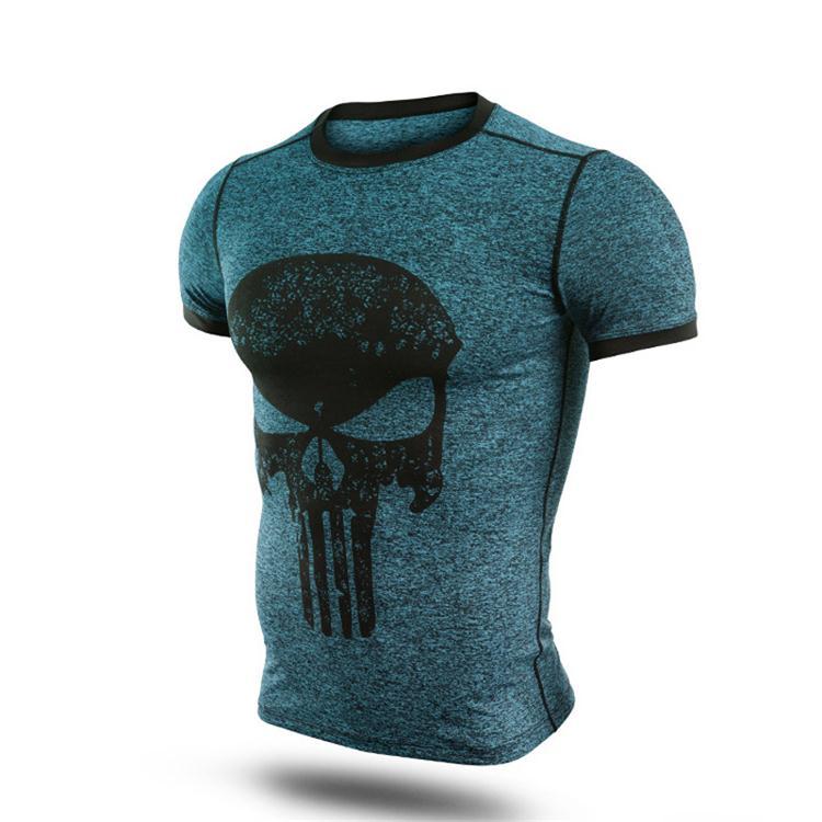 New fitness compression shirt men punisher skull t shirt superhero bodybuilding tight short sleeve t shirt brand clothing tops-3