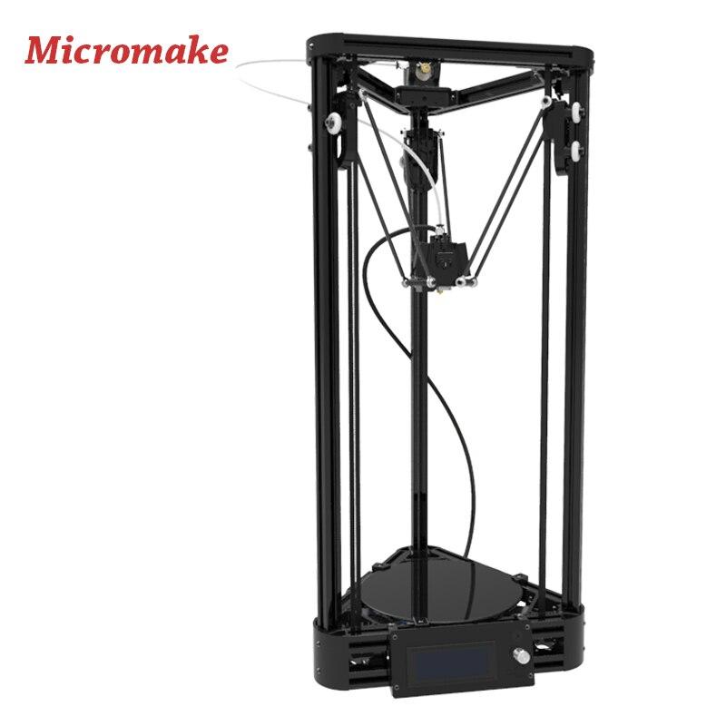 Micromake 3D-принтеры шкив версия руководство DIY Kit коссель Delta автоматическое выравнивание широкоформатной печати Размеры 3D принтер металла