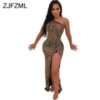 Sheer Mesh Rhinestones Sexy Bandage Dress Women One Shoulder Backless Club Party Dress Elegant High Side Split Sleeveless Dress