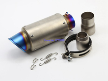 Blue Burnt Inlet 61mm Imitation Titanium Motorcycle Exhaust Muffler Pipe Silencer Carbon with 61mm to 51mm Convertor Accessories