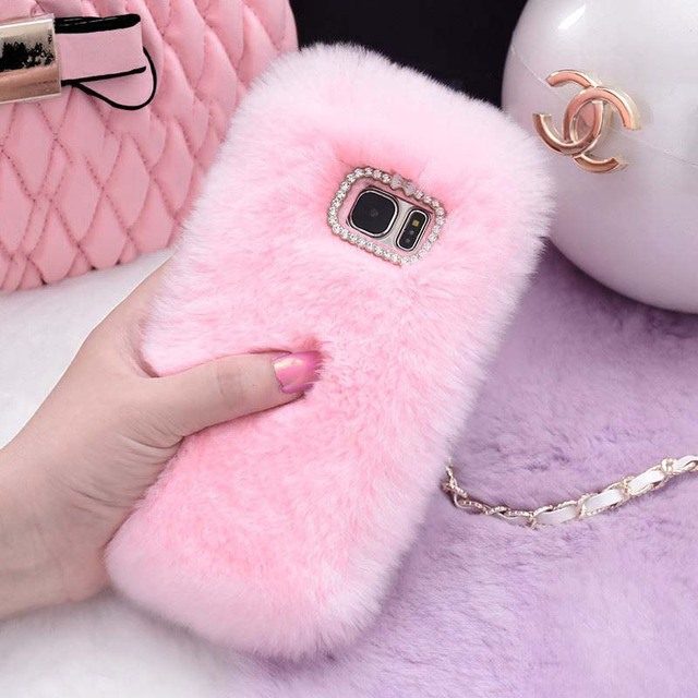 finest selection 3660f bf487 US $3.19 25% OFF|Rabbit Fur Case For Samsung J3 J5 J7 2016 2017 2018 Furry  Shell Phone Cases For Samsung Galaxy S8 S9 Plus S7 Edge Note 9 8 Cover-in  ...