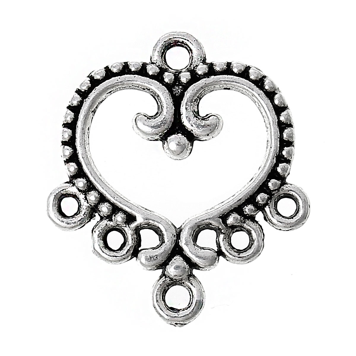 Zinc Metal Alloy Connectors Findings Heart Antique Silver Heart Pattern Color Plated 19mm(6/8
