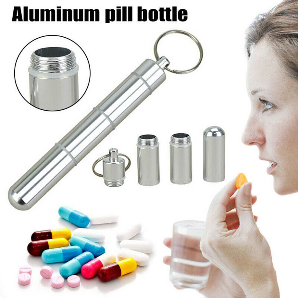 Pill-Bottle Medicine-Case Multiple Waterproof Compartments Portable Outdoor With Cigarette-Cartridge-Keychain