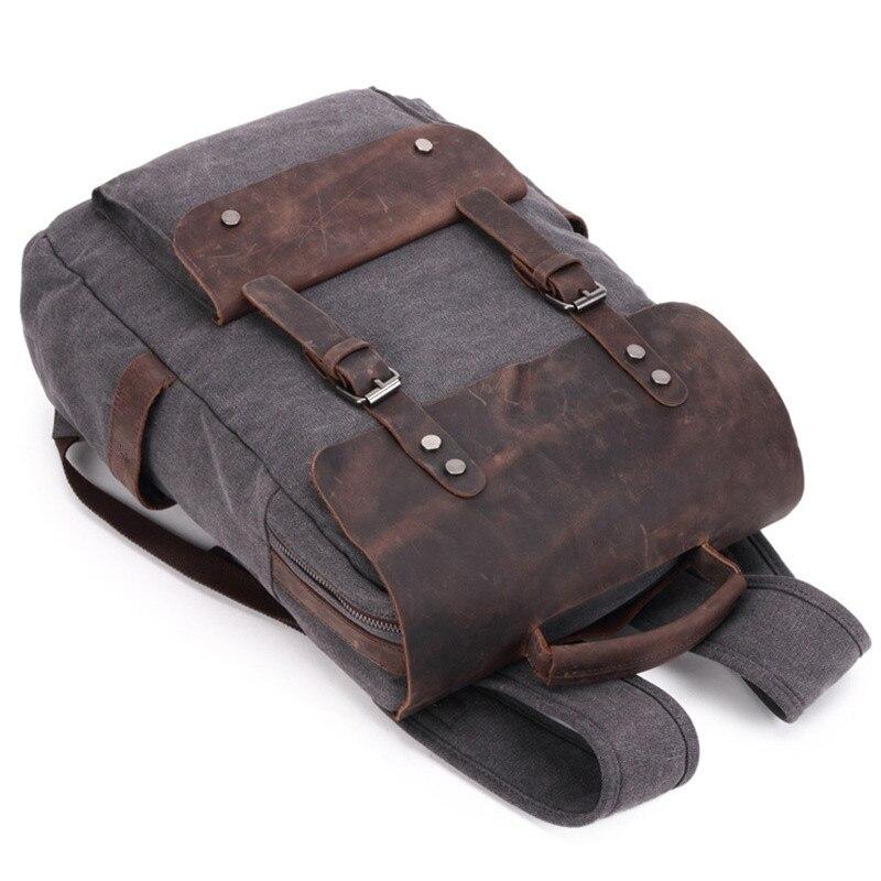 Wodoodporne płótno plecak vintage mężczyźni duża podróż plecak na laptopa torba prawdziwa skóra bydlęca skórzany plecak studentów szkoły Bookbag w Plecaki od Bagaże i torby na  Grupa 3