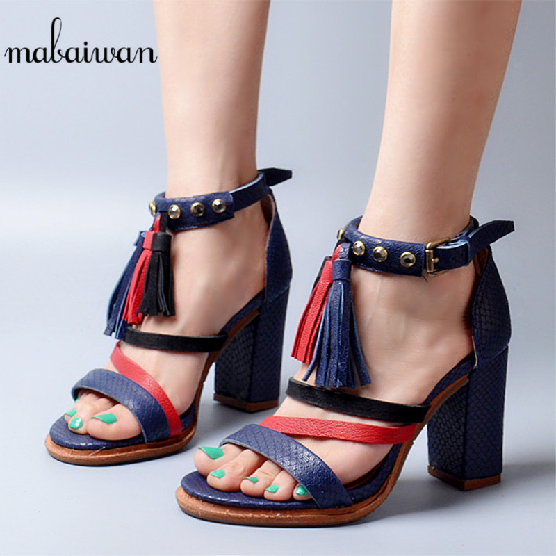 Mabaiwan New Women Summer Tassel Sandals High Heels Genuine Leather Dress Shoes Women Sexy Gladiator Rivet Peep Toe Heeled Pumps rome style genuine leather 9 5cm thick heels women sexy sandals 2016 black peep toe long bandage tassel fashion summer shoes