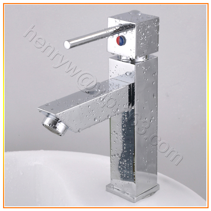 X8029B - Luxury Deck Mounted Chrome Color Hot & Cold Water Brass Bathroom Vanity Square Faucet