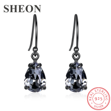 SHEON Authentic 925 Sterling Silver Vintage Black Crystal Water Drop Earrings For Women Earring Jewelry