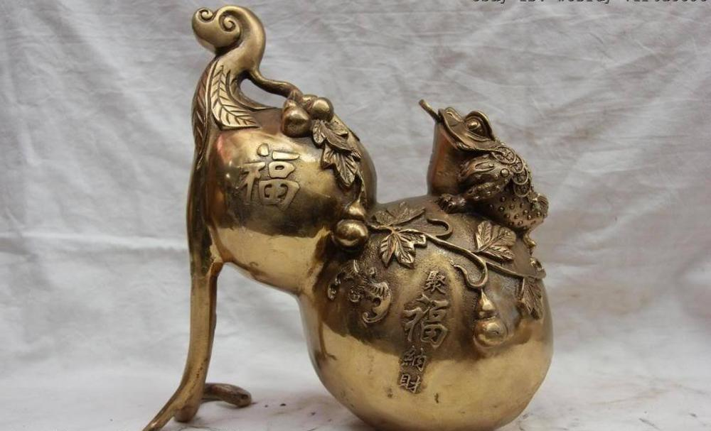 China Folk Copper Bronze Fengshui Fu Shou Lucky Wealth Three legged Toad Gourd