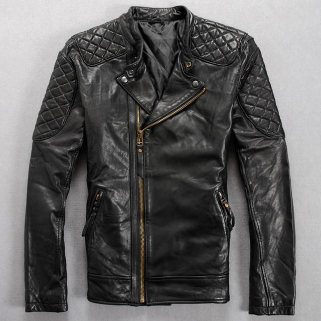 2017 Men Leather Biker Jacket Black Stand Collar Genuine Sheepskin Slim Fit Men Oblique Zipper Motorcycle Coat FREE SHIPPING