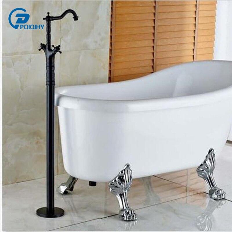 POIQIHY ORB finished Bathtub faucet Dual Cross Handles Floor Mount Bathroom Tub Faucet Mixer Tap