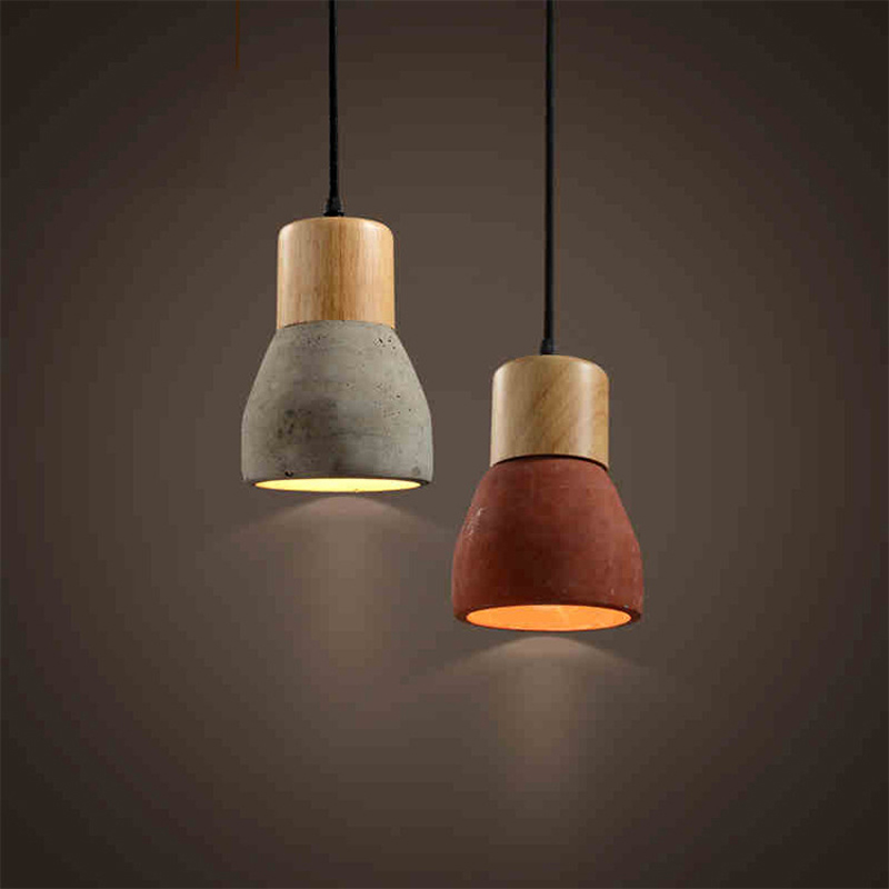 Retro Art Restaurant Bar Aisle Livingroom Wooden Cement Industrial Pendant Lamp  Bedroom Vintage Design Lamp Pendant Lighting