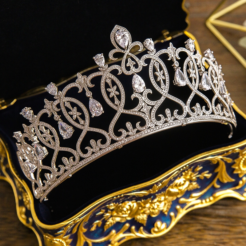 Vintage Baroque Queen Tiara Clear AAA Cubic Zirconia Headband Hair Jewelry Wedding Hairwear Pear Zircon Stone Crown Women Party