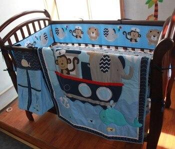 Promotion! 8PCS Crib Bumper Set Quilt Sheet baby bedding set conjunto de cama,(4bumper+duvet+bed cover+bed skirt+diaper bag)