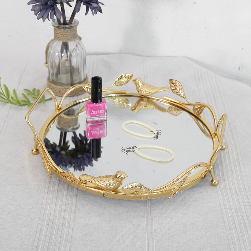 Us 107 38 9 Off Metal Mirror Tray Goldern Wine Cosmetics Tray Storage Tray Wedding Tray Decor D F0022 In Figurines Miniatures From Home Garden