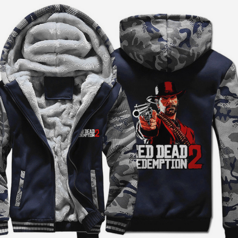 Men's Winter Thick Cartoon Anime Jacket Red Dead: Redemption Men Coat Hooded Sweatshirt With Polyster Villus Lining