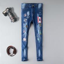 купить Patch Jeans Men Skinny Casual Cotton Classic Ripped Denim For Men Straight Slim Fit Plus Size distressed Harajuku Biker Jean онлайн