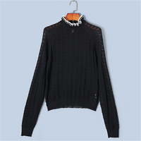 Runway Ruffles Sweater Women Pullovers Knit Tops 2018 New Autumn Hollow Out Jumper Loose High Quality Back Split Button Sweater