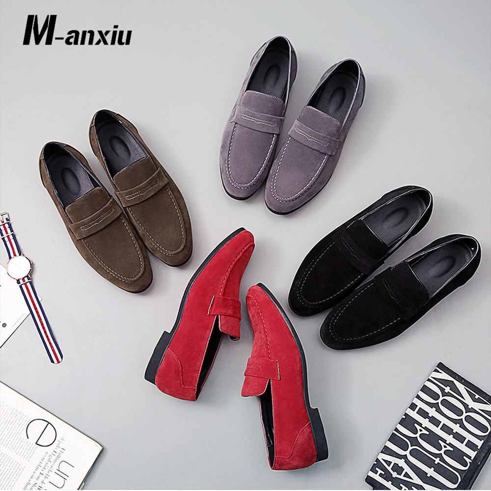M-anxiu Fashion   Suede     Leather   Formal Dress Party Shoes Slip On Round Loafers Night Club Casual Shoes