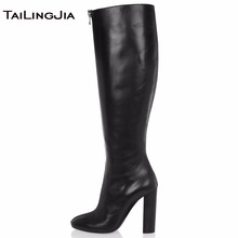 Women Knee High Boots High Heel Round Toe Fashion Front Zipper Ladies Block Heel Winter Keep Warm Boots Shoes Big Size Wholesale цена