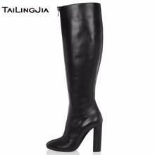 Women Knee High Boots High Heel Round Toe Fashion Front Zipper Ladies Block Heel Winter Keep Warm Boots Shoes Big Size Wholesale цены