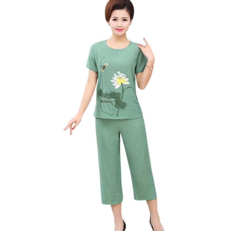 2018 XL-4XL Plus size women sleepwear   pajamas     set   short-sleeved vintage print home clothes pijama feminino summer pyjamas suit