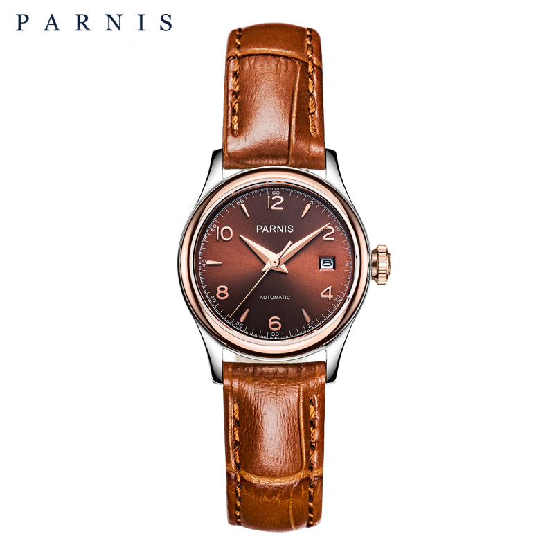 Womens 27mm Parnis Coffee Dial Gold Hands Sapphire Crystal Japan Miyota Movement Watch Automatic Self-Wind Mechanical WristwatchWomens 27mm Parnis Coffee Dial Gold Hands Sapphire Crystal Japan Miyota Movement Watch Automatic Self-Wind Mechanical Wristwatch