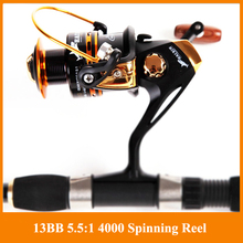 HOT SALE!! Free shipping Spinning reel fishing reel YA2000-YA5000 13BB 5.5:1 spinning reel casting fishing reel lure tackle line