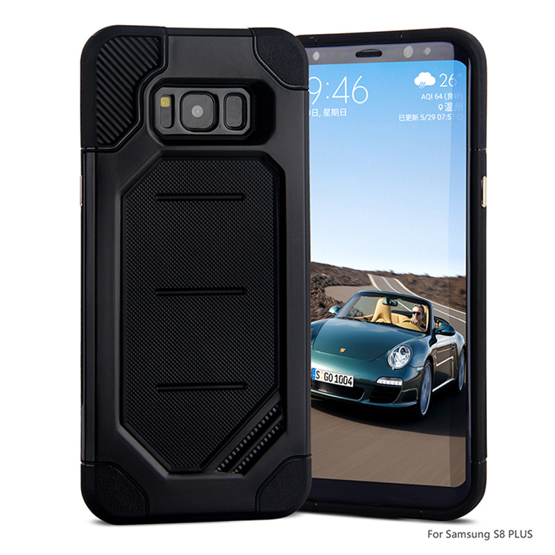Für <font><b>Samsung</b></font> <font><b>Galaxy</b></font> <font><b>S8</b></font> Plus S7 Rand Fall Robuste RÜSTUNG Cover Shock Proof <font><b>Defender</b></font> Carbon Fibre Gummi PC Dual Starke kühlen Fall image