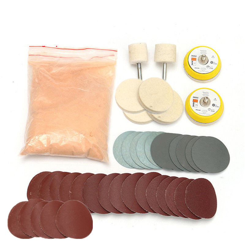 39 pcs Glass Scratch Removal Car Windshield Repair Kit Polishing Powder Sandpaper