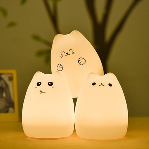 Colorful LED Night Light Animal Cat stype Silicone Soft Breathing Cartoon Baby Nursery Lamp for Children Gift(China)