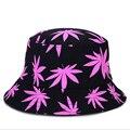 Корейский Стиль Открытый Шлем Ведра Реверсивные Рыбалка Hat Unisex Для Мужчины и Женщины С Кленовый лист Печать
