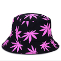 Korean Style Outdoor Bucket Hat Reversible Fishing Hat Unisex For Man and Woman  With Maple Leaf Printing