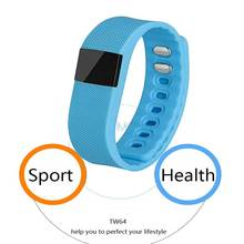 2016 Simple Cheap Bluetooth Smart Bracelet Health Monitor 4.0 Smart Bracelet Step Counting Remote For Smart Phone Blue TW64