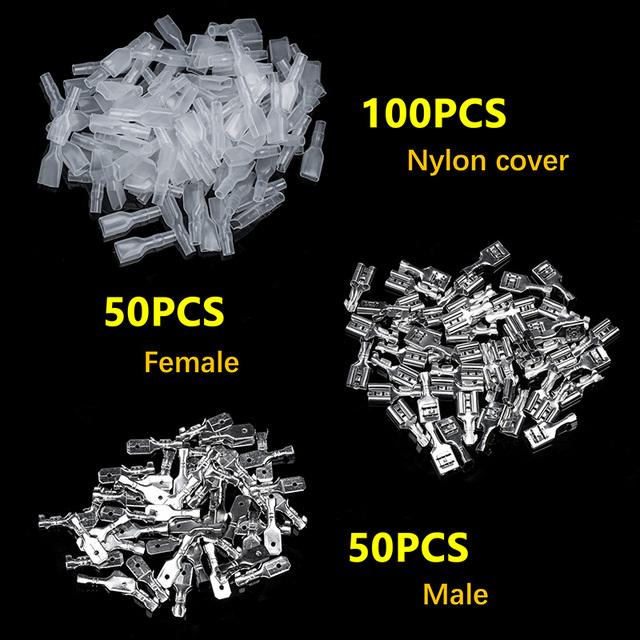 200Pcs 2.8/4.8/6.3mm Wire Connectors Crimp Terminals Crimp Female/Male Spade Terminals With Transparent Insulating Sleeves