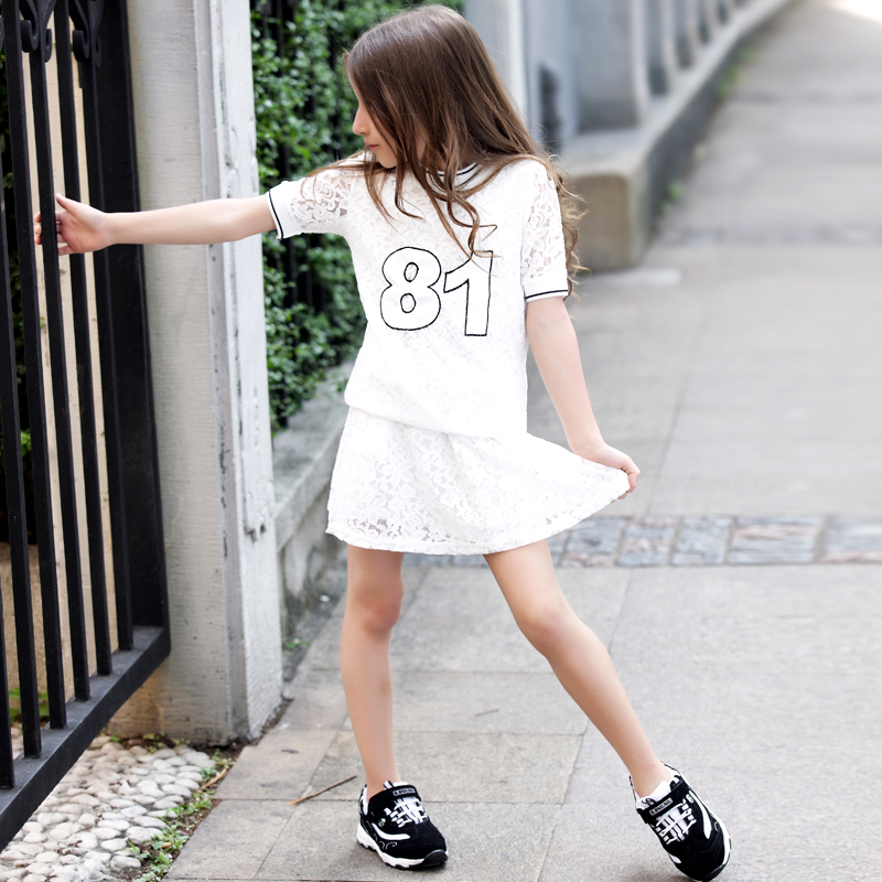 Famouse Brand Girls Clothing 2017 Summer Style Lace T-Shirts Lace Skirt Dress 2Pcs Girls Clothes Sets For 5 6 7 8 9 10 11 Years acthink 2017 new girls formal solid lace dress shirt brand princess style long sleeve t shirts for girls children clothing mc029