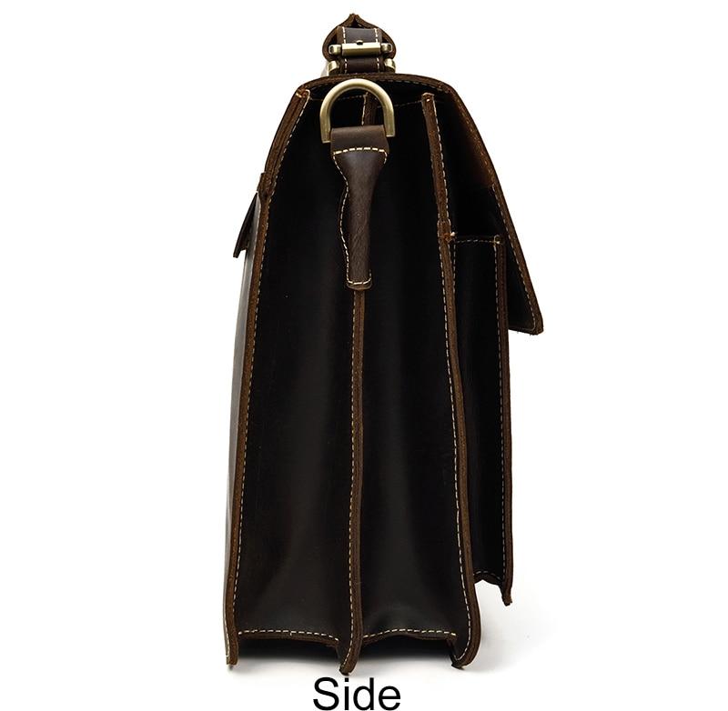 MAHEU Luxury Fashion 100% Genuine Leather Men Briefcase Cow Leather Laptop Bag Vintage Shoulder Bag Real Cowhide Computer Bag