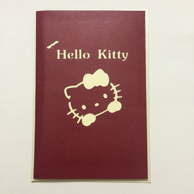 3pcs O Kitty Red Inviting Cards Dimensional Greeting Paper Honeycomb Wedding Engagement Party