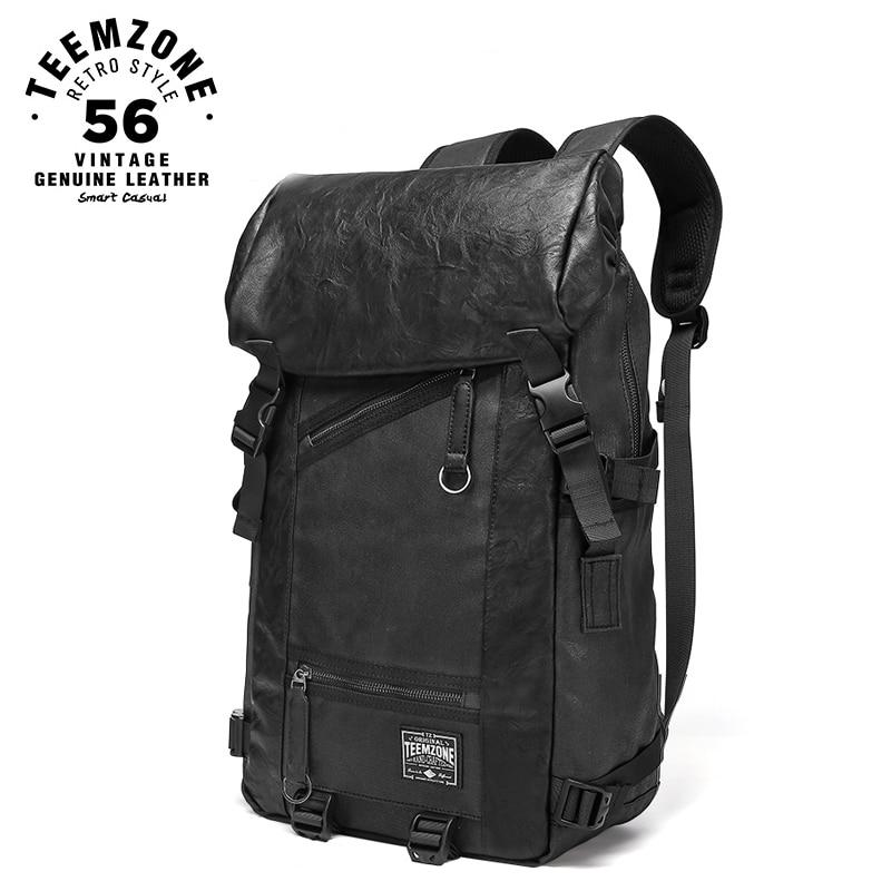 Men/'s Boy College Vintage Canvas Genuine Leather Backpack Travel Rucksack Bags