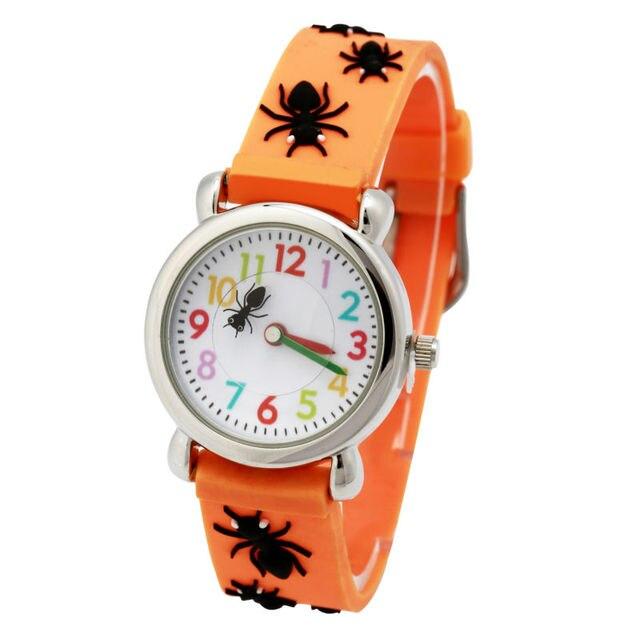 Fashion orange spider desigh Child Watch Silicone Cartoon Kids Sport Watch Boys