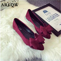 2017 spring new fashion single shoes women Europe and the United States flat bottom bow shallow lazy shoes work comfortable shoe