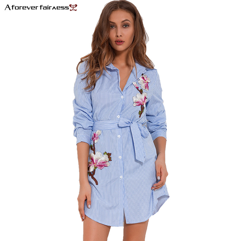 Women's Clothing A Forever 2019 Sexy Women Asymmetric Embroidered Design Shirt Dress Striped Blouse Long Sleeve Fashion Shirts Mini Dresses M-826